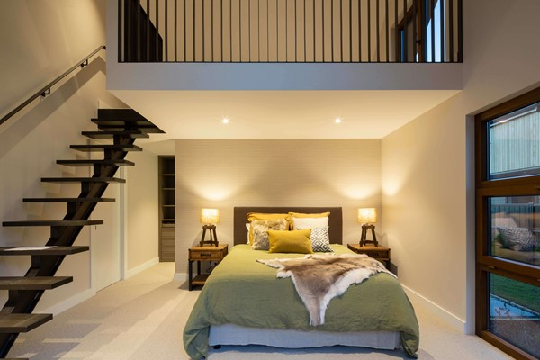 The master suite includes an elegant mezzanine New Hanley's Farm, Queenstown Show Home | David Reid Homes