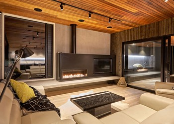 Custom home builders, composite entertainment unit gas fire TV