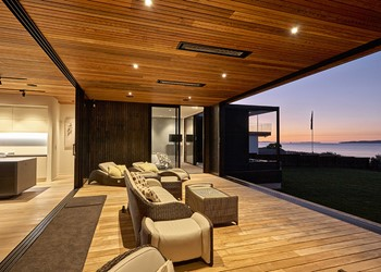 Luxury homes, timber ceiling deck outdoor room