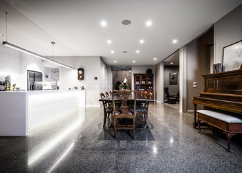 Luxury home builders NZ, beautiful kitchen, concrete floors