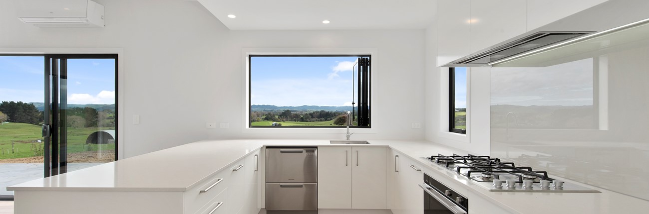 modern white kitchen landscape window