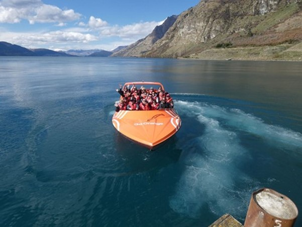 David Reid Homes on Go Orange Jet Boat in Queenstown