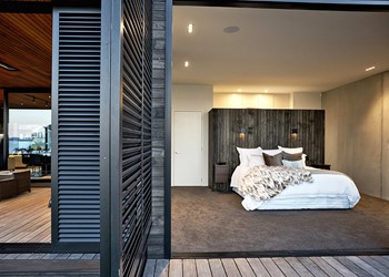 Designer homes, bedroom exit to deck